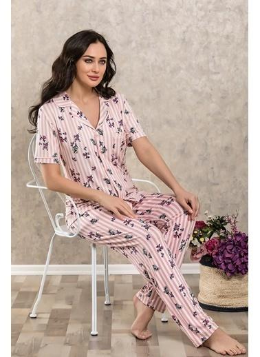 Lingabooms Çiçekli Çizgili Gömlek Pijama Takım Pembe